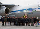 First heavy military-transport IL-76MD-90A aircraft, built within the frame of SDO, arrived to the airdrome of Beriev Aircraft Company for making of special complex of new generation